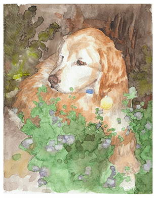 Setter Dog In Flowers Watercolor Portrait Art Print by Mike Theuer