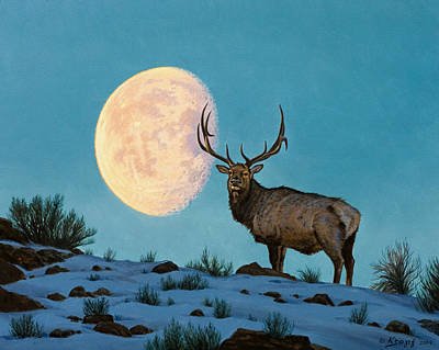 Setting Moon And Elk Art Print by Paul Krapf