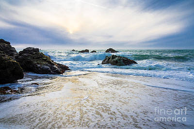 Setting Sun And Rising Tide Art Print by CML Brown