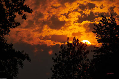 Photograph - Setting Sun In Smokey Clouds by Mick Anderson