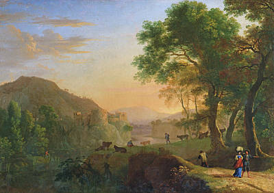 Setting Sun, Italy Oil On Canvas Art Print by Herman van Swanevelt