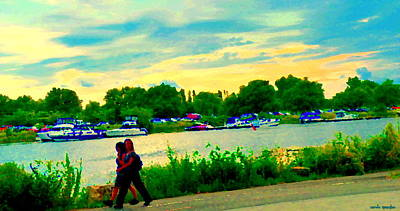 Summer Along The Canal Painting - Setting Sun Lachine Canal Brisk Summer Stroll Boats Along Shoreline Montreal Scenes Carole Spandau by Carole Spandau