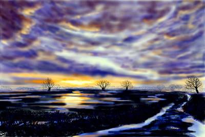 Painting - Setting Sun Over Flooded Fields by Glenn Marshall
