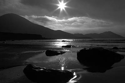 Irish Seascape Photograph - Setting Sun Star by Aidan Moran