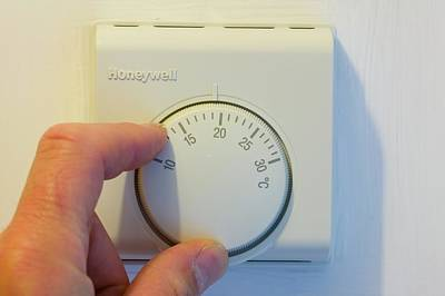 Setting The Central Heating Thermostat Art Print