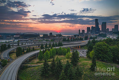 Photograph - Seattle Sunset by Gene Garnace