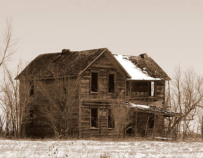 Photograph - Settlers Dark Shadows House Sepia by Michele Carter