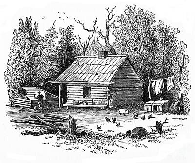 Settler's Log Cabin - 1878 Art Print