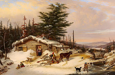 Beautiful Creek Painting - Settler's Log House by Mountain Dreams