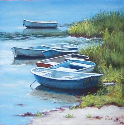Chatham Harbor Painting - Seven Boats by Candice Ronesi