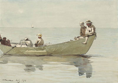 Fishing In Stream Painting - Seven Boys In A Dory by Celestial Images