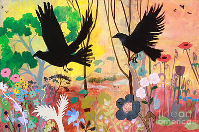 Painting - Seven Circling Crows by Robin Maria Pedrero