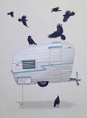 Crow Wall Art - Painting - Seven Crows And A Canned Ham by Jeffrey Bess