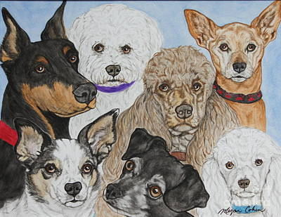 Dog Painting - Seven Furry Blessings by Megan Cohen