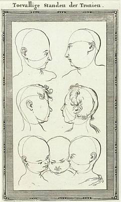 Human Head Drawing - Seven Heads, Jan Luyken, Willem Goeree by Jan Luyken And Willem Goeree