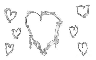 Drawing - Seven Hearts Doodling by Renee Trenholm