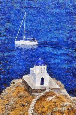 Painting - Seven Martyrs Chapel In Sifnos Island by George Atsametakis