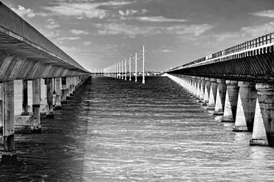 seven mile bridge BW Art Print by Rudy Umans