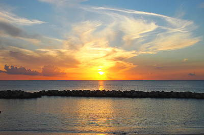 Seven Mile Sunset Over Grand Cayman Art Print by Amy McDaniel