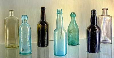 Photograph - Seven Old Bottles by Ludwig Keck