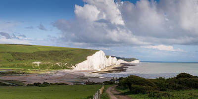 Coastguard Cottages Photograph - Seven Sisters Cliffs And Coastguard Cottages by Gary Eason