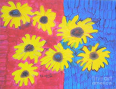 Painting - Seven Sunflowers 1 by Richard W Linford