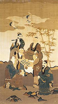 Stork Wall Art - Photograph - Seven Wise Men In The Bamboo Forest Painted Silk by Japanese School