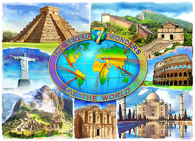 Christ The Redeemer Digital Art - Seven Wonders Of The World by Adrian Chesterman