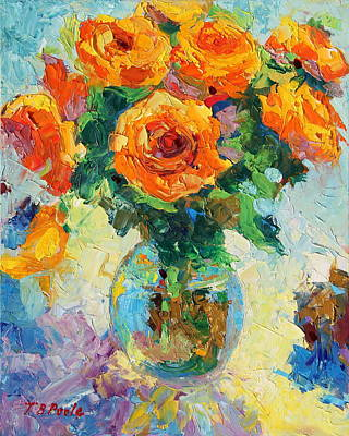 Seven Yellow Roses In Glass Vase Oil Painting Art Print