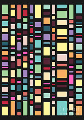 Rectangles Digital Art - Seventeen Pattern Dark by Freshinkstain