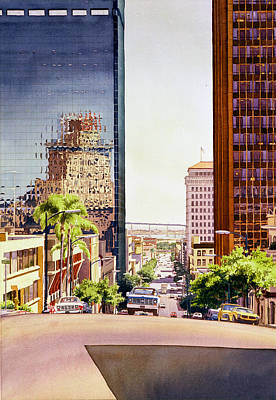 Downtown Wall Art - Painting - Seventh Avenue In San Diego by Mary Helmreich