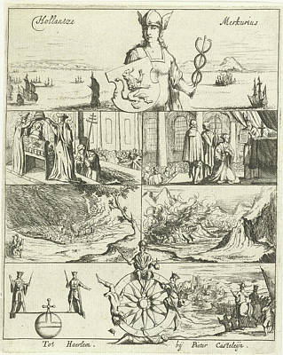 Mercury Drawing - Several Events In Europe In The Year 1655 Awarded By Mercury by Dirck De Bray And Pieter Casteleyn