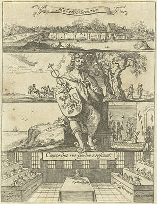 Mercury Drawing - Several Events In Europe Unknown Year Enthroned Mercury by Dirck De Bray