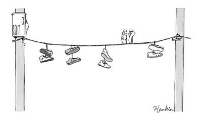 Surrealism Drawing - Several Pairs Of Shoes Dangle Over An Electrical by Charlie Hankin