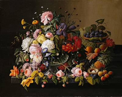 Severin Roesen Still Life Flowers And Fruit 1850 Art Print