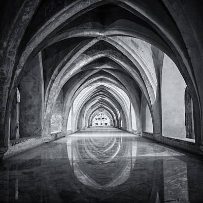 Baths At Alcazar Seville Bw Art Print by Joan Carroll