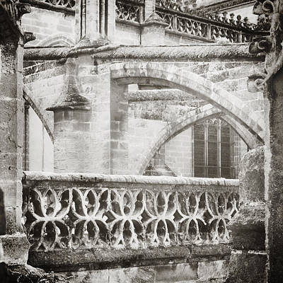 Seville Cathedral Buttresses Black And White Art Print by Angela Bonilla