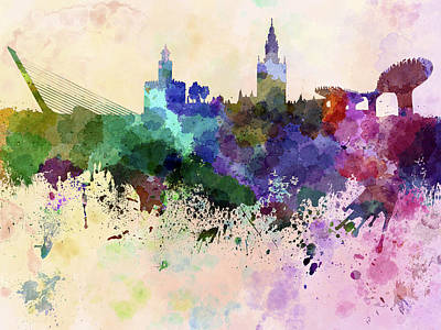 Colorful Art Digital Art - Seville Skyline In Watercolor Background by Pablo Romero