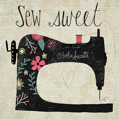 Sewing Machine Painting - Sew Sweet by Katie Doucette