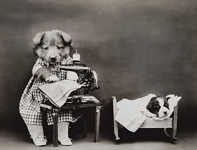 1914 Photograph - Sewing Baby Clothes by Aged Pixel