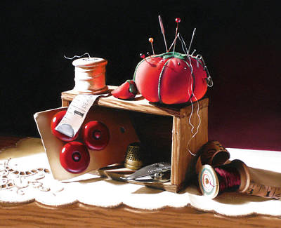 Sewing Box In Reds Art Print