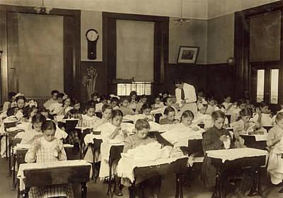 Sewing Class, 1909 Art Print