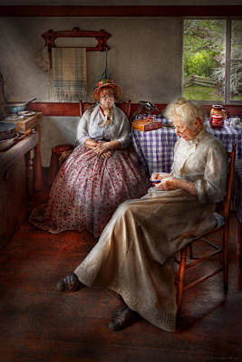 Photograph - Sewing - I Can Watch Her Sew For Hours by Mike Savad