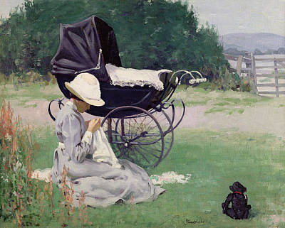 Dog In Landscape Painting - Sewing In The Sun, 1913 by Brake Baldwin