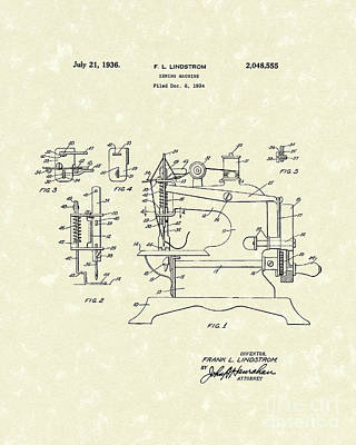 Drawing - Sewing Machine 1936 Patent Art by Prior Art Design