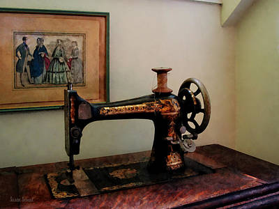 Photograph - Sewing Machine And Lithograph by Susan Savad