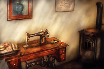 Sewing Machine - Sewing In A Cozy Room  Art Print by Mike Savad