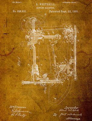 Machine Mixed Media - Sewing Machine Vintage Patent On Worn Canvas by Design Turnpike