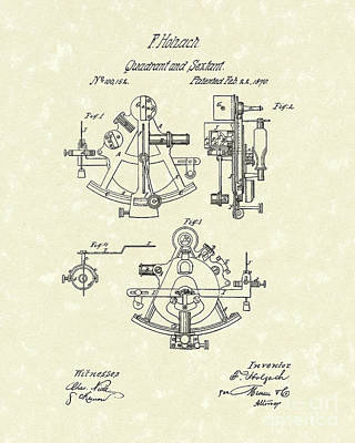 Drawing - Sextant 1870 Patent Art by Prior Art Design