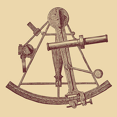 Drawing - Sextant Engraving Brown by Ticky Kennedy LLC